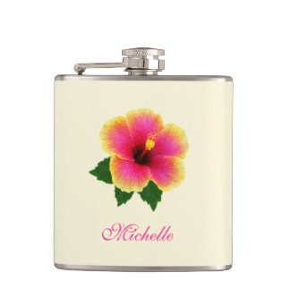 Personalized Colorful Hibiscus Flask