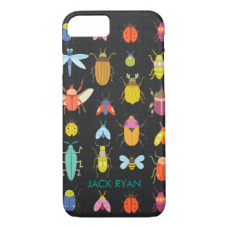 PERSONALIZED COLORFUL INSECT BUGS BLACK LINEN iPhone 7 CASE