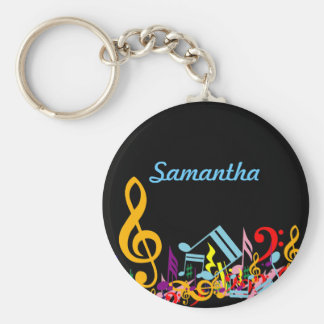 Personalized Colorful Jumbled Music Notes on Black Key Ring