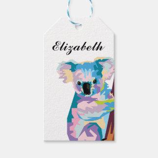 Personalized Colorful Pop Art Koala Gift Tags