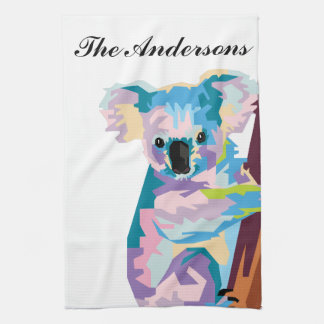 Personalized Colorful Pop Art Koala Tea Towel