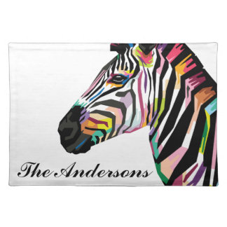 Personalized Colorful Pop Art Zebra Placemat