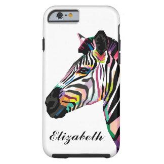 Personalized Colorful Pop Art Zebra Tough iPhone 6 Case