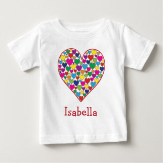 Personalized Colorful Rainbow Heart of Hearts Baby T-Shirt