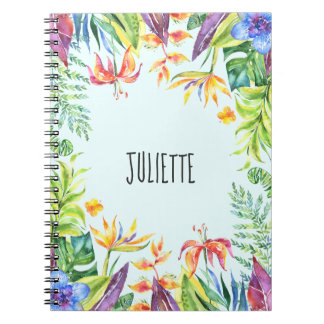 Personalized Colorful Tropical Flowers and Plants Notebooks