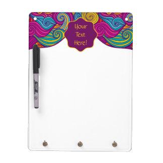 Personalized Colorful Wavy Stripe Swirls Pattern Dry Erase Board
