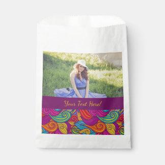 Personalized Colorful Wavy Stripe Swirls Pattern Favour Bag