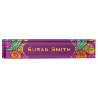 Personalized Colorful Wavy Stripe Swirls Pattern Name Plate