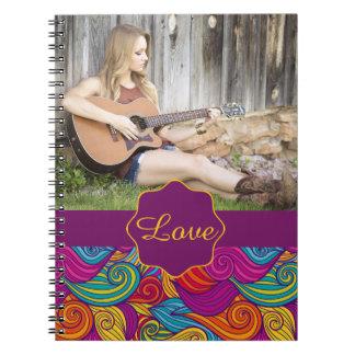 Personalized Colorful Wavy Stripe Swirls Pattern Notebook