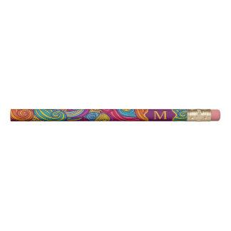 Personalized Colorful Wavy Stripe Swirls Pattern Pencil