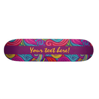Personalized Colorful Wavy Stripe Swirls Pattern Skateboard
