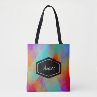 Personalized colourful painted tote bag