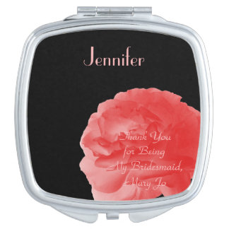 Personalized Compact Mirror Coral Rose Bridesmaid