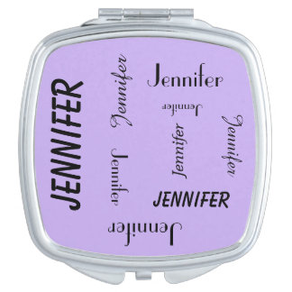 Personalized Compact Mirror, Name Repeats, Purple Vanity Mirrors