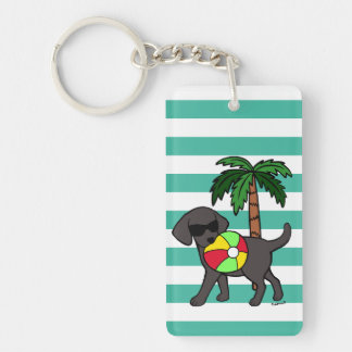 Personalized Cool Black Labrador Sunglasses Key Ring