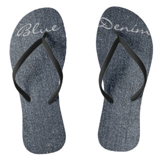 Personalized Cool Blue Denim Flip Flops Thongs