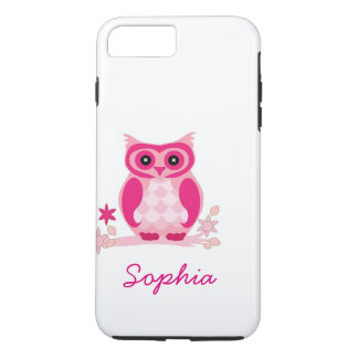 Personalized Cool Cute Unique Groovy Pink Owl iPhone 7 Plus Case