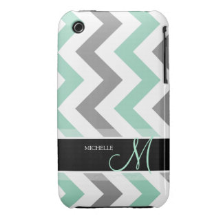 Personalized Cool Mint and Gray Chevron Case-Mate iPhone 3 Case