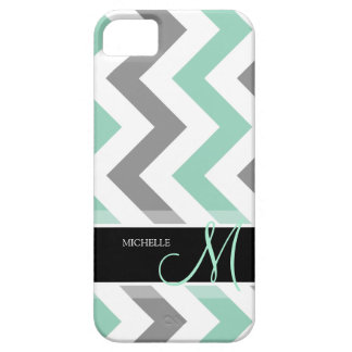 Personalized Cool Mint and Gray Chevron Case For The iPhone 5