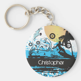 Personalized Cool Surfing Beach Surfer Keychain