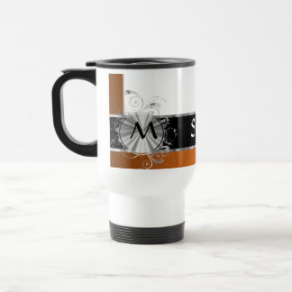 Personalized copper and silver monogram travel mug