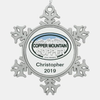Personalized Copper Mountain Colorado Christmas Snowflake Pewter Christmas Ornament
