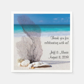 Personalized Coral Beach Wedding Disposable Napkin
