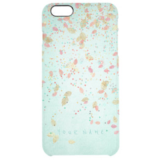 Personalized Coral Pink Mint Green Golden Leafs Clear iPhone 6 Plus Case