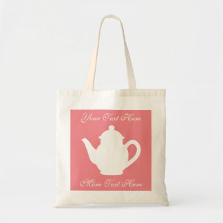 Personalized coral pink tea party favor tote bags