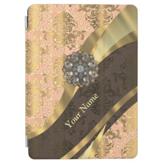 Personalized coral vintage damask pattern iPad air cover