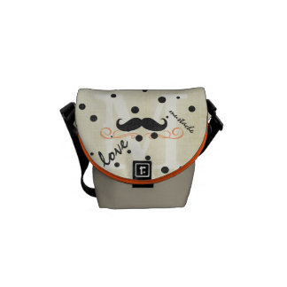 Personalized Coral Vintage Modern Mustache Messenger Bags