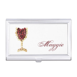 Personalized Cork Wine Glass Business Card Holder
