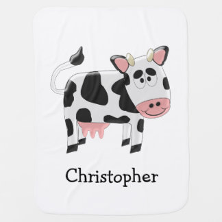Personalized Cow Design Baby Blanket