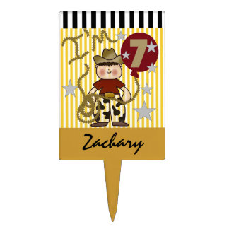 Personalized Cowboy 7th Birthday Cake Topper