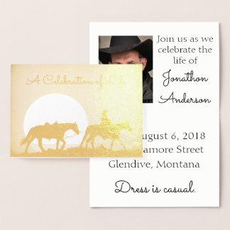 Personalized Cowboy Celebration of Life Foil Card