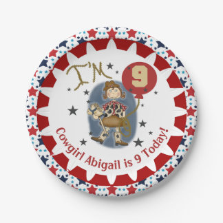 Personalized Cowgirl 9th Birthday Paper Plates 7 Inch Paper Plate