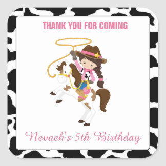 Personalized Cowgirl Square Stickers Seal Birthday