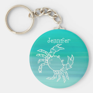 Personalized Crab in an aquamarine colored ocean Key Ring