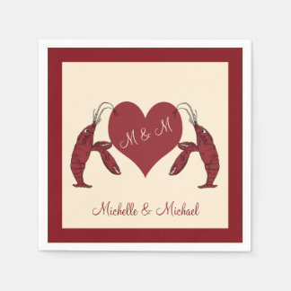 Personalized Crawfish Lobsters With Heart Disposable Napkin