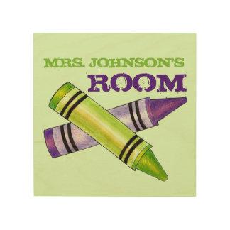 Personalized Crayon Art Teacher School Classroom