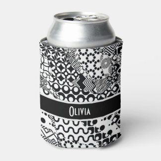 Personalized, Crazy Black & White Pattern 7 Can Cooler