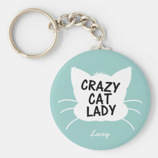 Personalized Crazy Cat Lady - wavecrest blue Basic Round Button Key Ring