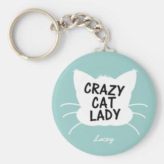 Personalized Crazy Cat Lady - wavecrest blue Key Ring