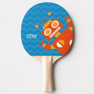 Personalized Crazy Fun Orange Robot Blue Chevron Ping Pong Paddle