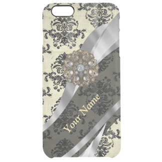 Personalized cream and black damask clear iPhone 6 plus case