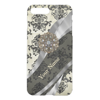 Personalized cream and black damask iPhone 7 plus case