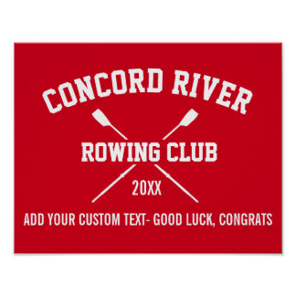 Personalized Crew Rowing Logo Oars Team Name Year Poster