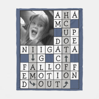 Personalized Crossword with Custom Text and Photo Fleece Blanket