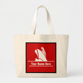 Personalized Cruise Ship on Red Jumbo Tote Bag