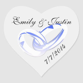 Personalized Crystal Wedding Ring Round Sticker